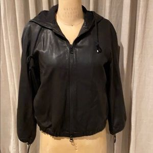 Vince supple leather jacket with hood.
